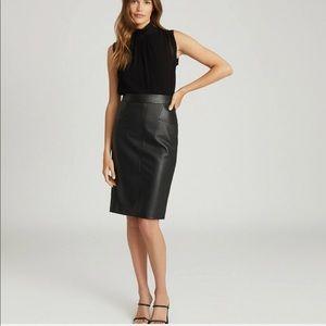 Genuine Leather pencil Skirt, Bianca Nero, Sz M